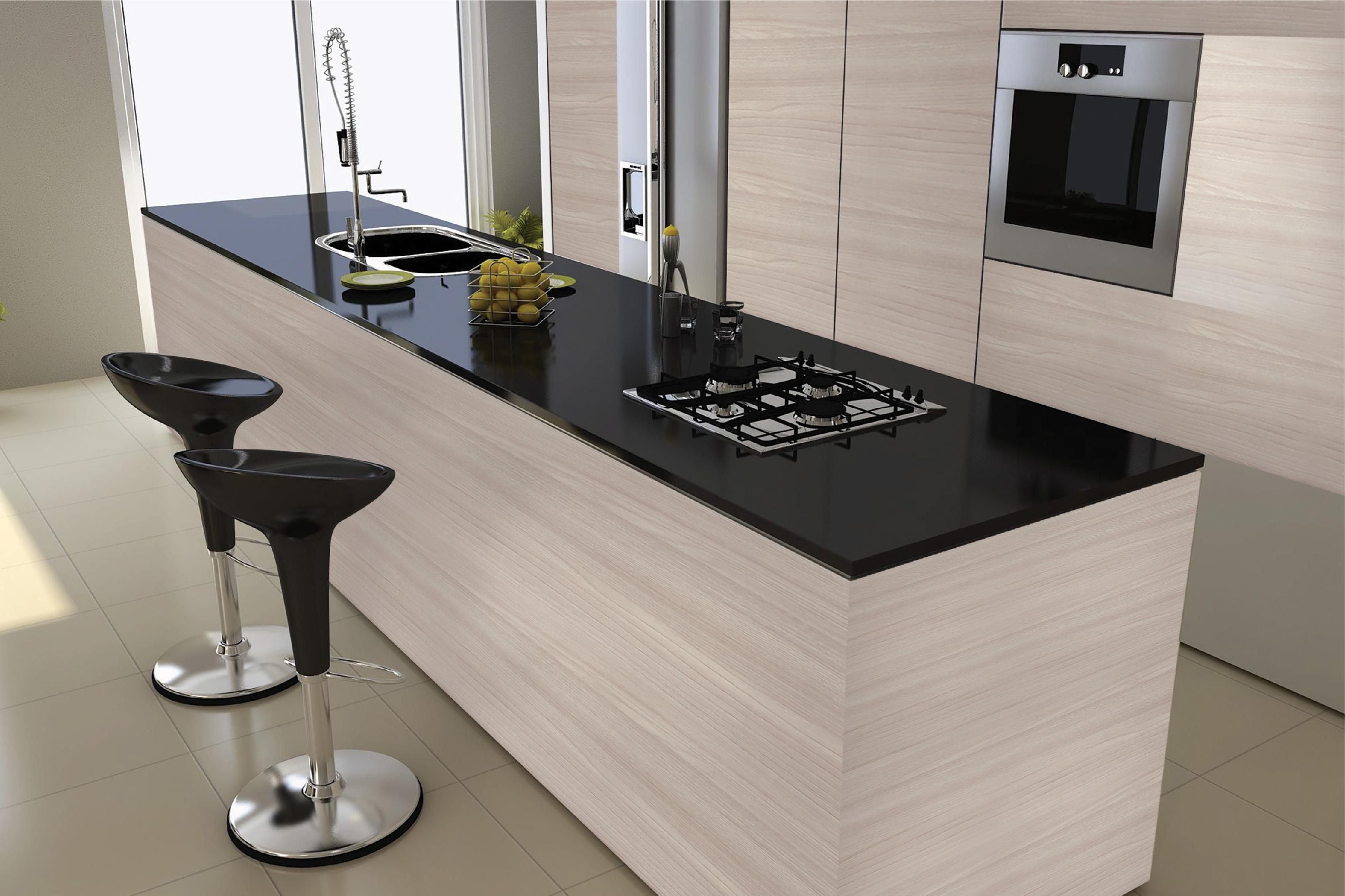 Showcase Modern Kitchen Cabinet Green Decor Melamine Faced
